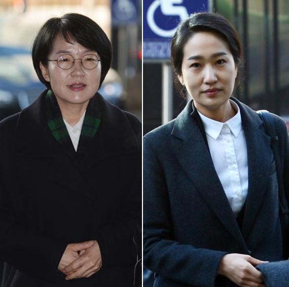 국민의당 박선숙 의원(왼쪽)과 김수민 의원. [뉴시스]