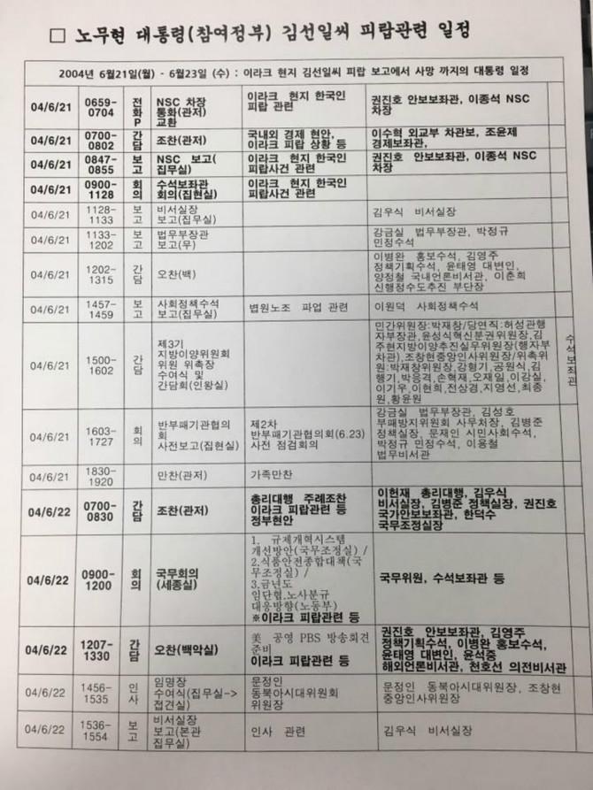 노무현 전 대통령의 김선일씨 피랍 관련 일정표. [이해찬 의원실 페이스북]