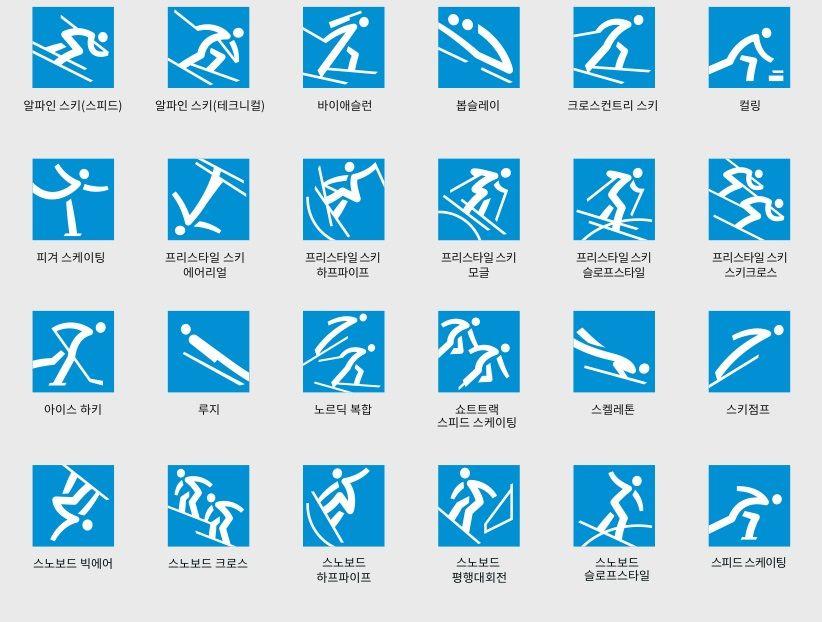 2018년 평창 겨울올림픽에 사용될 픽토그램 [사진 2018 평창 겨울올림픽 조직위원회]