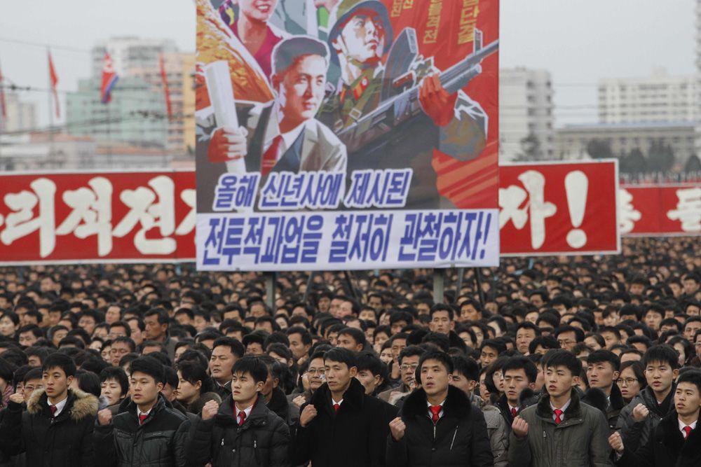 북한이 5일 평양에서 김정은 노동당 위원장의 신년사 내용 관철을 다짐하는 군중대회를 열었다.[AP=뉴시스]