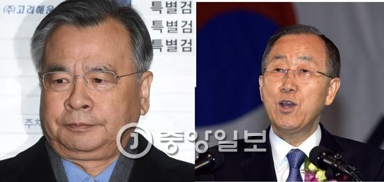 박영수 특별검사(왼쪽)와 반기문 전 유엔 사무총장 [중앙포토]
