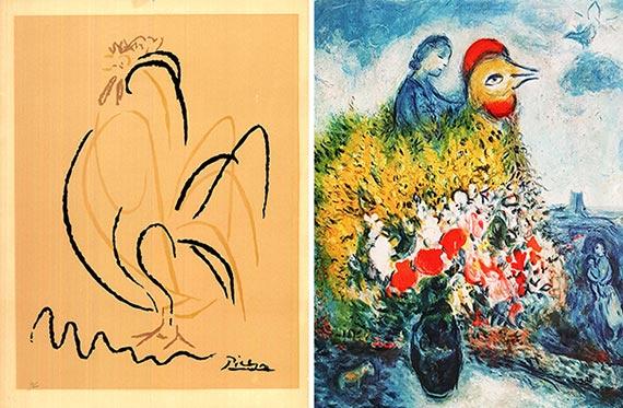 피카소(왼쪽)와 샤갈의 닭 석판화. [사진 고판화박물관]