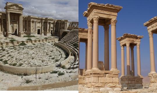 시리아 팔미라 지역을 장악하고 있는 IS(이슬람국가)가 파괴한 로마시대 원형극장과 바알신전의 테트라필론.