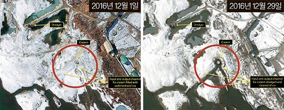 38노스가 평안북도 영변 핵 단지의 위성사진을 분석한 결과 5㎿급 플루토늄 생산용 원자로의 냉각 수조와 인근 하천을 잇는 수로의 얼음이 제거되는 등 재가동 흔적이 발견됐다. [38노스 홈페이지 캡처]