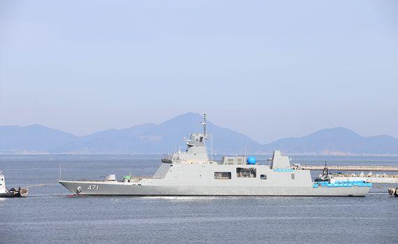 대우조선해양이 건조중인 태국해군의 3650t급 최신예 호위함. [사진 대우조선해양]
