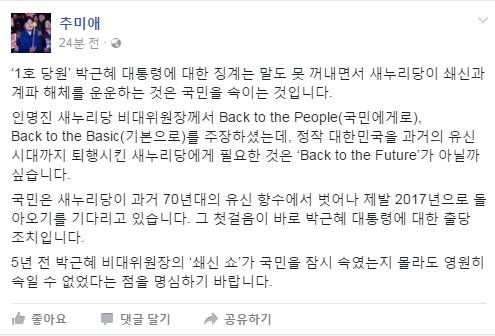 민주당 추미애 대표 페이스북 캡처