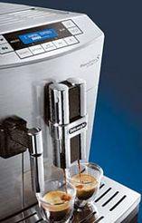 최적의 커피크레마를 추출하는 드롱기의 전자동 에스프레소 커피머신.