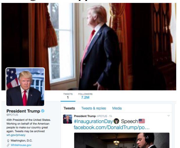 지난 20일 취임식 직후 트럼프 미 대통령의 팔로워가 72만명을 기록하고 있다. [사진 SNS 캡처]