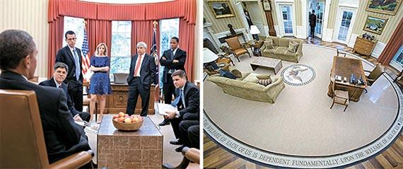 오바마 전 대통령 재임 때 단 다홍색 커튼(사진 왼쪽)을 금색으로 바꾸고, 카펫(사진 오른쪽)도 레이건·부시 전 대통령이 쓰던 것으로 교체했다. [백악관]