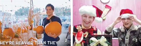 미국을 다녀올 땐 핼러윈 축제처럼 현지 문화 체험도 할 수 있는 동영상을 만든다. (왼쪽) EBS 인기 강사 아이작과 함께한 크리스마스 특집 영상. (오른쪽)