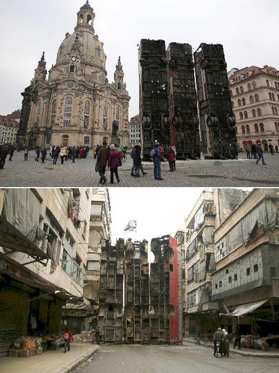 시리아 출신 예술가 할부니는 8일(현지시간)독일 드레스덴 프라우엔 교회 앞 광장에 대형 버스 3대를 수직으로 세운 작품 '모뉴먼트(Monument)'를 선보였다(위).이는 지난 2015년 시리아 알레포에서 정부군 저격수로부터 거리를 보호하기 위해 세운 3대의 버스를 재현한 것이다(아래).[로이터=뉴스1]