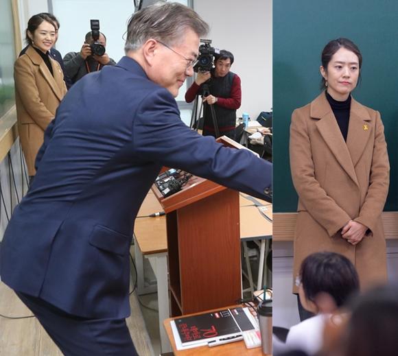 문재인 전 더불어민주당 대표가 지난 6일 오후 서울 동작구 노량진로의 한 공무원시험학원을 찾아 쉬는 시간을 이용해 공시생들을 격려하는 특강을 했다. 고민정 전 KBS 아나운서가 함께했다. [뉴시스]