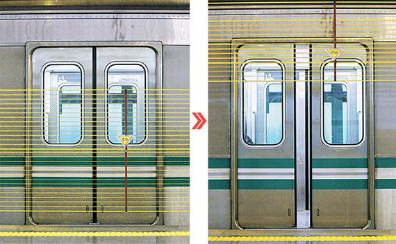 대구 지하철 문양역은 승강장 울타리가 '상하 개폐식'이다. 노란색 폴리염화비닐을 입힌 철제 와이어가 선로 앞을 막고 있다가(좌) 지하철이 들어와 출입문이 열리면 위로 올라간다(우). [프리랜서 공정식]
