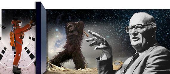 SF 대작 『스페이스 오디세이』 시리즈가 완간됐다. 왼쪽부터 소설을 영화화한 '2001 스페이스 오디세이'의 탐사선 디스커버리호 내부, 고등 외계인이 달에 남긴 검은 석판, 외계인의 도움으로 도구를 사용하게 된 최초의 인류 장면. 맨 오른쪽은 작가 아서 클라크. [사진 황금가지]