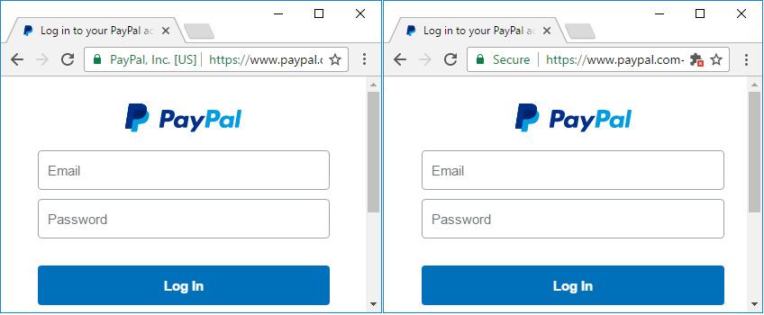 HTTPS의 '안전' 표시를 악용한 피싱·파밍 사이트가 등장해 주의가 요구된다.좌측이 '진짜' 페이팔 웹사이트고, 우측은 이를 모방한 '가짜' 웹사이트다. [사진 더 해커 뉴스]