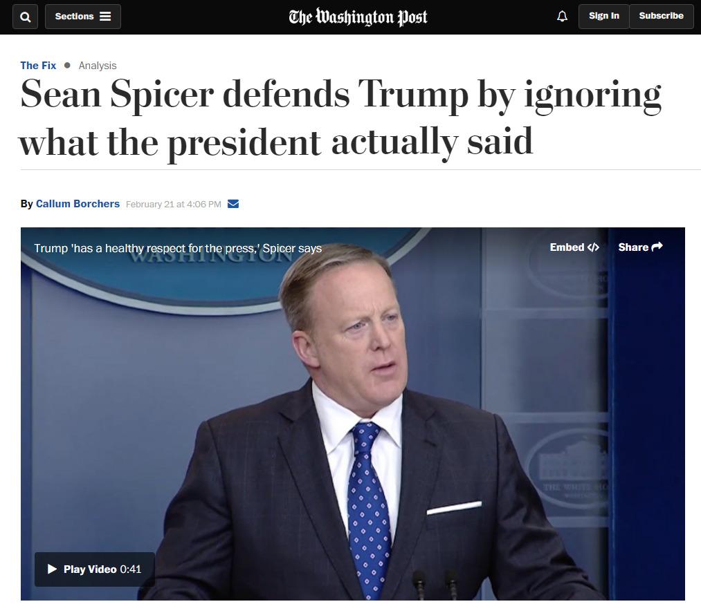 숀 스파이서 미국 백악관 대변인. [사진 워싱턴포스트 홈페이지]