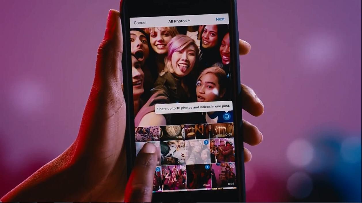 최대 10개의 사진과 동영상을 선택해 하나의 앨범처럼 포스팅 할 수 있다.