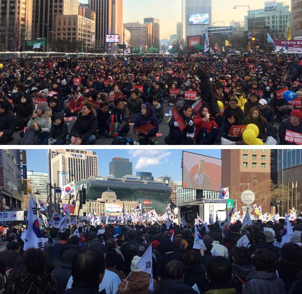 25일 서울 광화문 광장과 시청광장 일대에서 촛불집회(위)와 태극기집회가 열렸다. [사진 홍상지 기자]