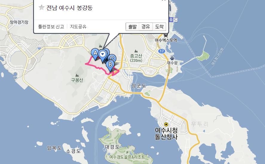 전남 여수시 봉강동[사진 다음 지도 캡처]