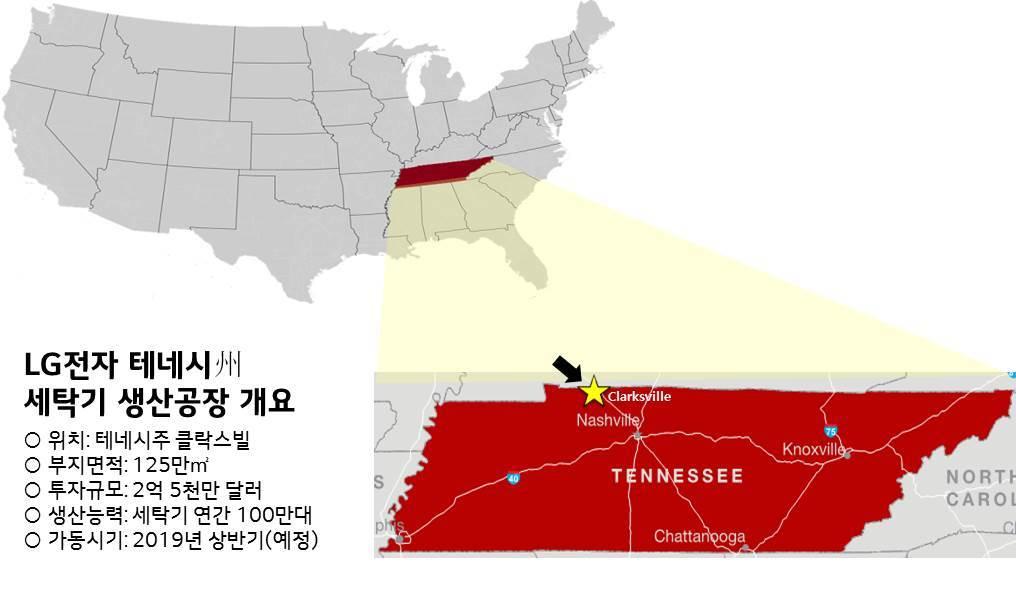 LG전자가 2019년 완공을 목표로 지으려 하는 미국 세탁기 공장의 지도상 위치