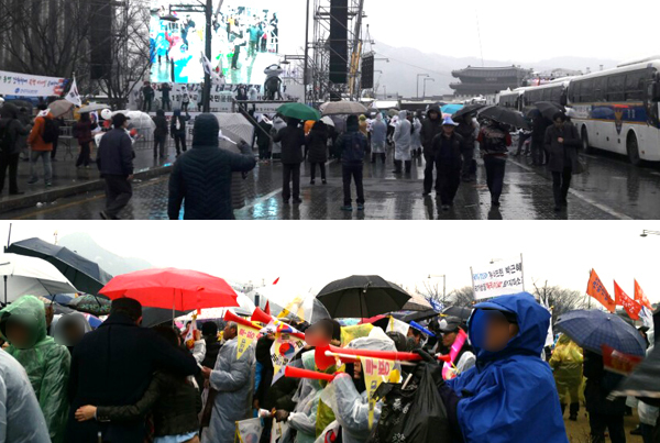 태극기집회측 상황(왼쪽)과 태극기집회를 향해 '부부젤라'를 부는 촛불집회 참가자들. [사진 하준호, 김민관 기자]