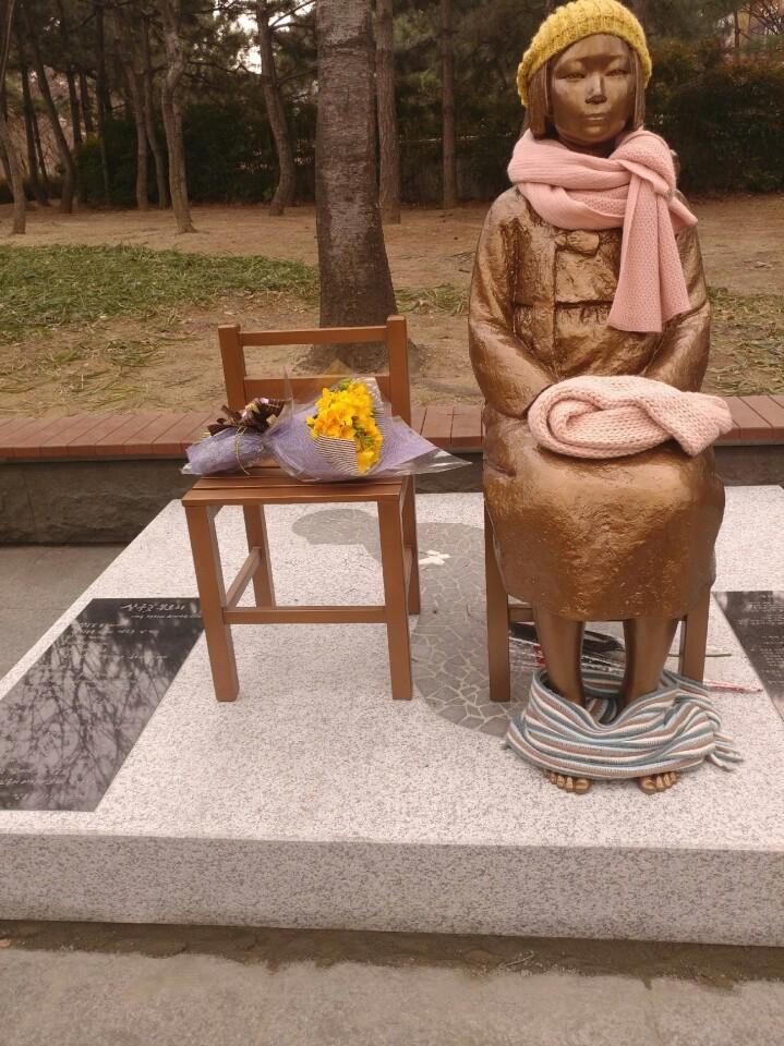 3·1절 오전 대구 중구 '2·28기념 중앙공원' 인근 도로에 설치된 대구 평화의 소녀상. 사진=대구평화의 소녀상 건립 추진위 제공