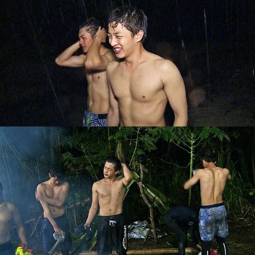 """배우 김민석은 """"그냥 벗자!""""라며 '알몸 샤워'를 제안했다. [사진 SBS 캡처]"""