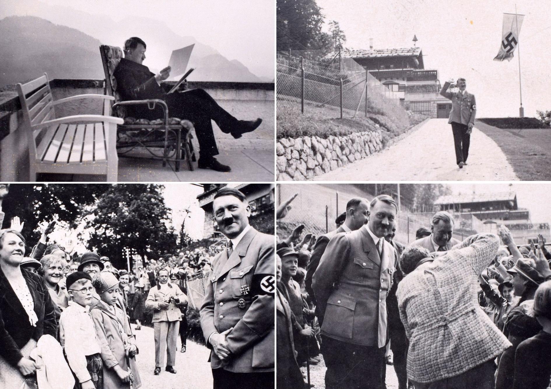 의자에 앉아 서류를 보거나(상단 왼쪽) 경례를 하는 아이들 앞에서 미소띤 히틀러의 모습(아래 사진).[사진 데일리메일]