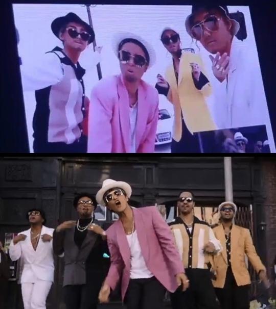 마마무 콘서트 영상(상단)과 '업타운 펑크' 뮤직비디오. [사진 온라인 커뮤니티 / 해당 뮤직비디오 캡처]