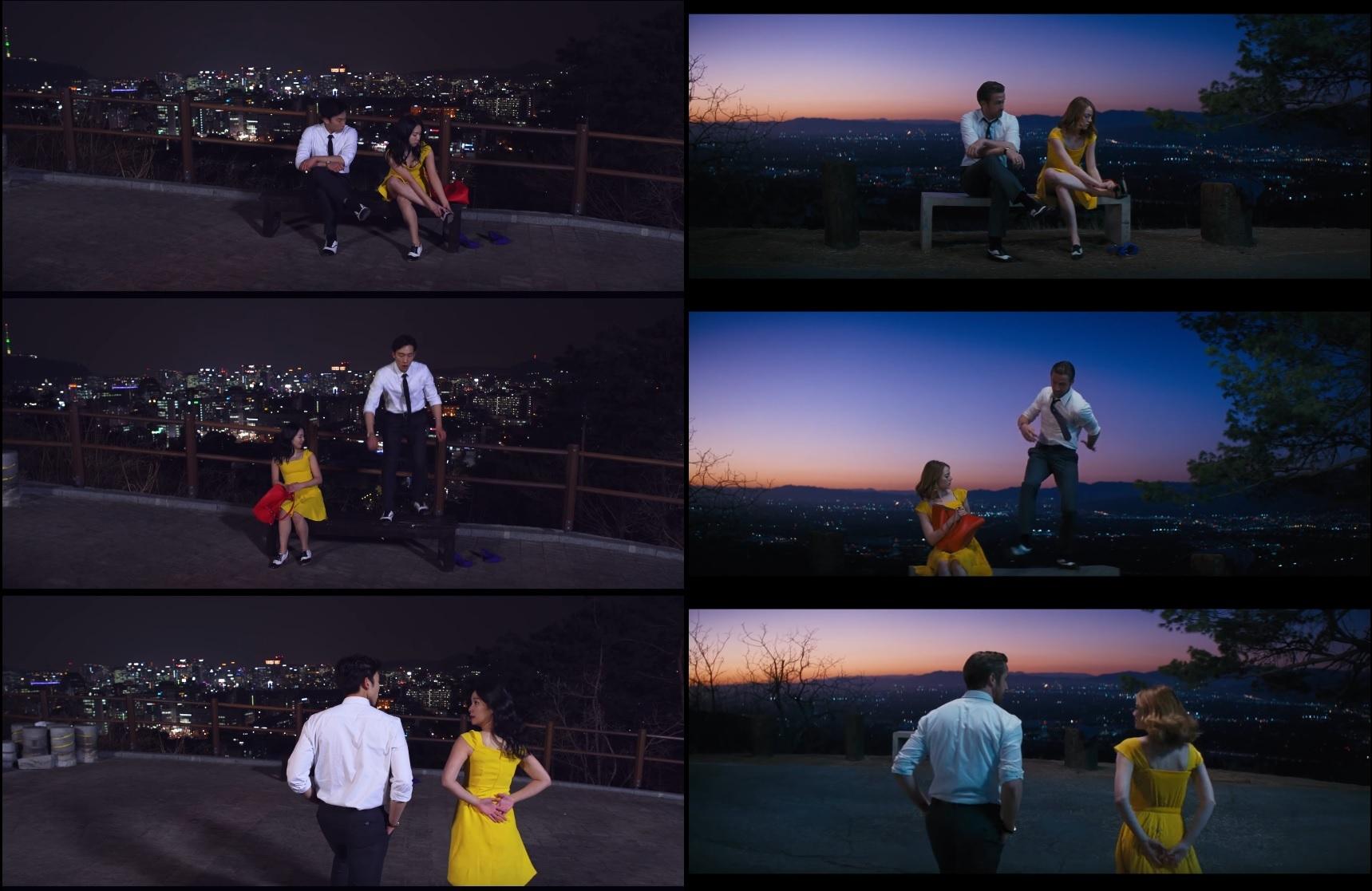 영화 라라랜드를 패러디한 낙산랜드(좌측)가 화제를 모으고 있다. [사진 유튜브 캡처]