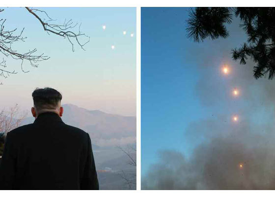 2017년 3월6일 동창리 중거리 미사일 발사 바라보는 김정은 [사진 노동신문]