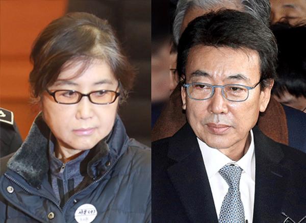 안민석 더불어민주당 의원이 최순실(왼쪽)씨와 정윤회씨의 결혼한 년도가 1995년이 아닌 1992년이라고 주장했다. [중앙포토]