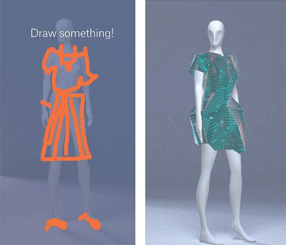 구글과 패션 온라인 업체 '자란도'가 선보인 인공지능(AI) 기반 맞춤 서비스. 고객이 몇 가지 질문에 답한 뒤 대강의 그림을 그리면 3D로 옷이 디자인된다. 기존 구매 시스템에서 빅데이터 분석을 통해 고객의 취향과 흡사한 의상을 제시하는 원리다. [사진 구글]