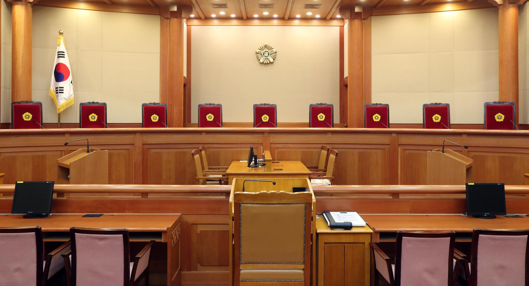 탄핵선고를 앞둔 헌법재판소 대심판정. 강정현 기자