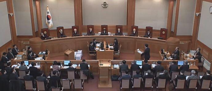 10일 헌법재판소의 박근혜 대통령 탄핵심판 장면.