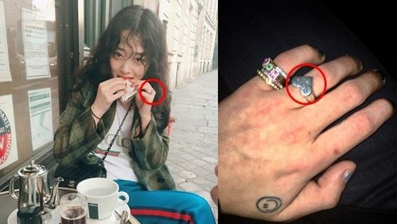 설리(왼쪽)와 지드래곤(오른쪽)은 같은 반지를 끼고 있는 사진을 비슷한 시기에 올렸다. [사진 설리, 지드래곤 인스타그램]