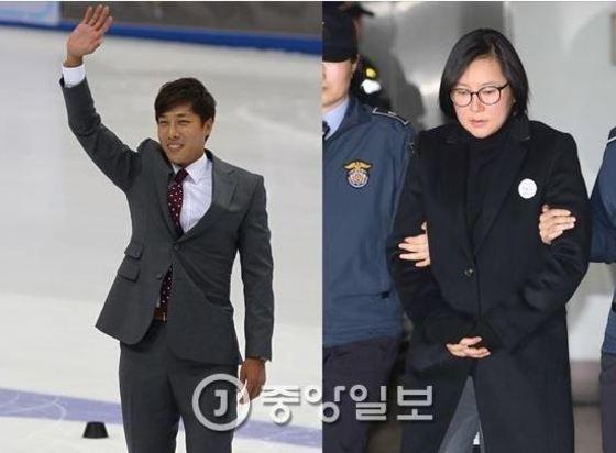 김동성(왼쪽)과 최순실의 조카 장시호. [중앙포토]