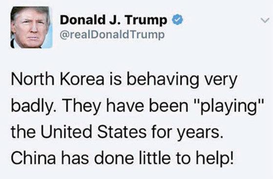 트럼프 미국 대통령이 17일(현지시간) 트위터에 북한과 중국을 비판하며 올린 글.