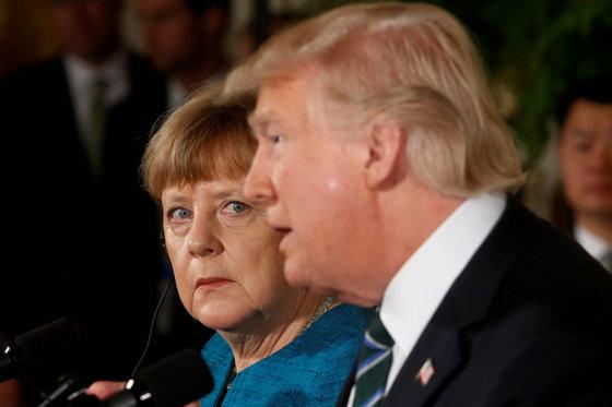 미국과 독일의 첫 정상회담은 냉랭했다. [로이터=뉴시스]
