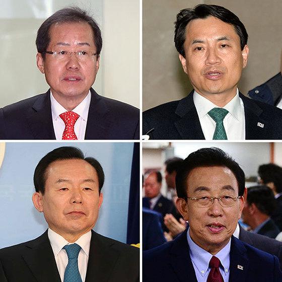 왼쪽 위부터 시계방향으로 홍준표, 김진태, 김관용, 이인제.