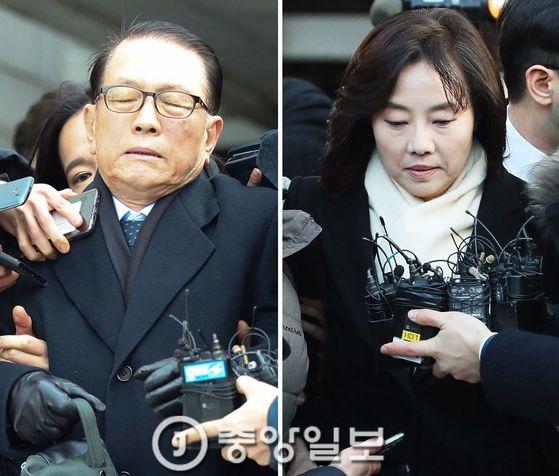김기춘 전 비서실장(왼쪽)과 조윤선 전 장관 [중앙DB]