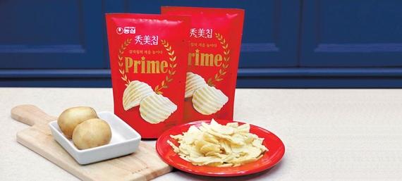 농심은 고급 식재료 중 하나인 트러플 (송로버섯)맛 감자스낵인 '수미칩 프라임'으로 감자칩 시장의 세대교체를 이끌고 있다. [사진 농심]