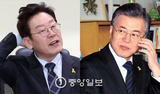 더불어민주당 대선 예비후보인 이재명 성남시장과 문재인 전 당대표. [중앙포토]