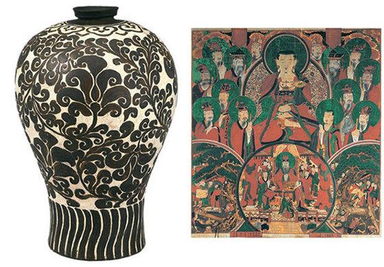 왼쪽은 청자철채상감 매병. 줄기·덩굴·잎 등 식물 문양이 정교하다. 오른쪽은 조선불화 '시왕도'다.
