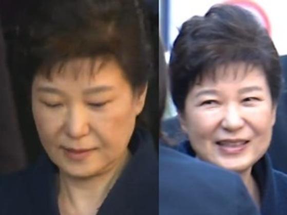 청사를 나설 때 박근혜 전 대통령의 모습(왼쪽)과 삼성동 자택에 도착해 차량에서 내려 지지자들과 인사를 나누는 박 전 대통령의 모습 [사진 YTN 방송 캡처]