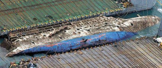 세월호가 2014년 4월 16일 침몰 1072일 만인 23일 해수면 위로 모습을 드러냈다. 이날 중국 상하이샐비지 재킹 바지선이 전남 진도군 앞 해역에서 인양 작업을 하고 있다. 세월호 선체 곳곳에 붉은 녹이 보인다. [항공 촬영=김상선 기자]