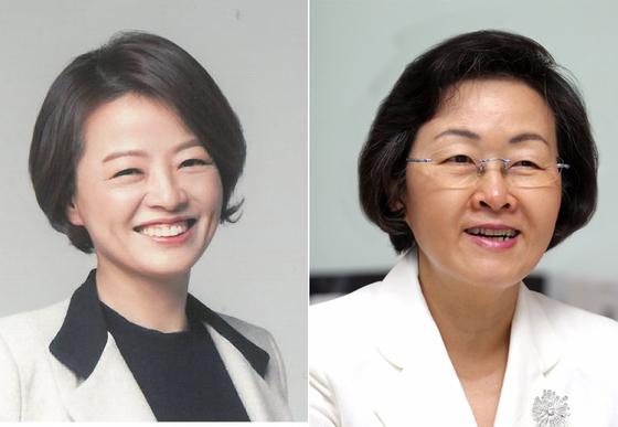 진선미 더불어민주당 의원(왼쪽), 신연희 강남구청장. [사진 중앙포토]