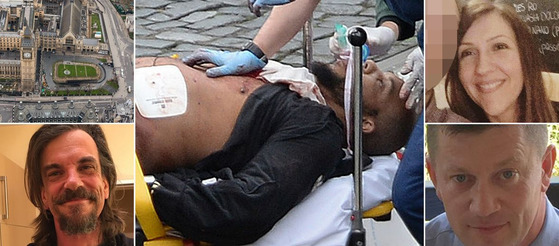 3명을 숨지게 한 런던테러의 용의자(가운데)와 희생자들의 신원이 공개됐다. [사진 영국 미러 홈페이지]