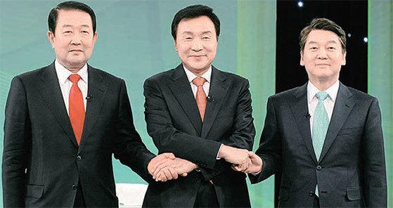국민의당 대선 경선 후보인 박주선 의원(왼쪽부터), 손학규 전 대표, 안철수 전 대표 [중앙DB]