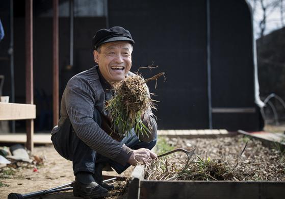 """도시농부 안철환씨가 파종을 앞둔 밭의 흙 냄새를 맡고 있다. """"정말 구수해요. 사람을 살리는 냄새죠. 이 맛에 농사를 짓습니다."""" [사진 권혁재 사진전문기자]"""